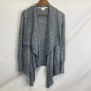C LABEL Open Front Cardigan Sweater Blue White